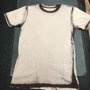 Mens Brown Tie Dye Ringer T-shirt Medium